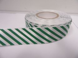 25mm Candy Stripe Ribbon Emerald Green and White 2 metres or 20 metre roll Barber Shop Diagonal
